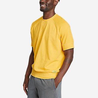 Men's Camp Fleece Riverwash Short-Sleeve Crew Sweatshirt in Yellow