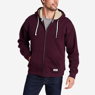 Men's Signature Sherpa-Lined Full-Zip Hoodie in Purple
