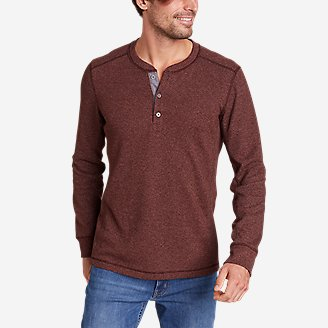 Men's Eddie's Favorite Ultrasoft Thermal Henley in Brown