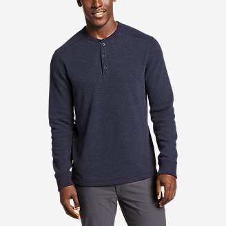 Men's Eddie's Favorite Ultrasoft Thermal Henley in Blue