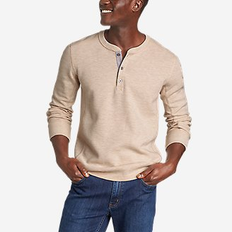 Men's Eddie's Favorite Ultrasoft Thermal Henley in Beige