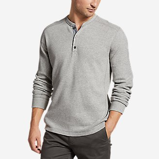 Men's Eddie's Favorite Ultrasoft Thermal Henley in Gray