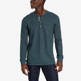 Men's Eddie's Favorite Ultrasoft Thermal Henley in Green