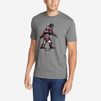 Men's Graphic T-Shirt - Red, White & Blue Squatch in Gray