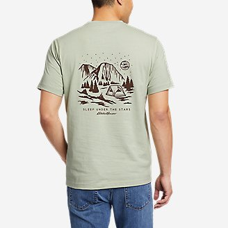 Men's Graphic T-Shirt - Camp Under The Stars in Green
