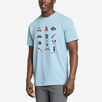 Men's Graphic T-Shirt - Camp Icon in Blue