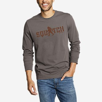 Men's Graphic Long-Sleeve T-Shirt - Squatch in Gray