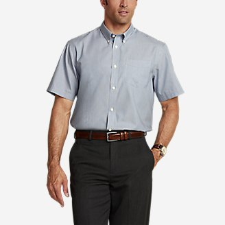 Men's Wrinkle-Free Relaxed Fit Short-Sleeve Pinpoint Oxford Shirt - Blues in Blue