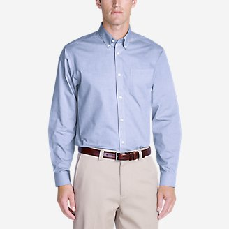 Men's Wrinkle-Free Relaxed Fit Pinpoint Oxford Shirt - Solid Long-Sleeve in Blue