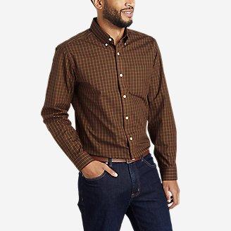 Men's Wrinkle-Free Pinpoint Oxford Classic Fit Long-Sleeve Shirt - Seasonal Pattern in Brown