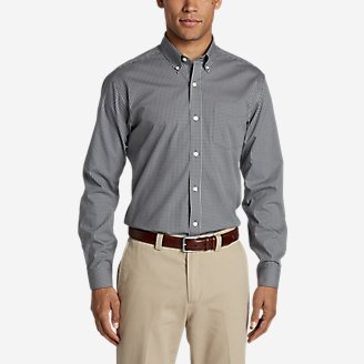 Men's Wrinkle-Free Pinpoint Oxford Classic Fit Long-Sleeve Shirt - Seasonal Pattern in Gray