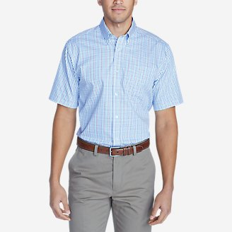 Men's Wrinkle-Free Classic Pinpoint Oxford Short-Sleeve Shirt - Blues in Blue