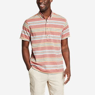 Men's Baja Short-Sleeve Popover Shirt in Orange