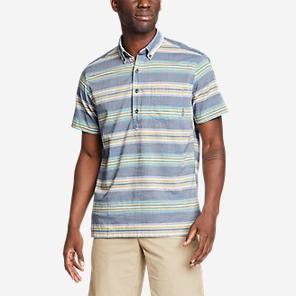 Men's Baja Short-Sleeve Popover Shirt in Blue