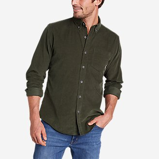 Men's Long-Sleeve Corduroy Shirt in Green