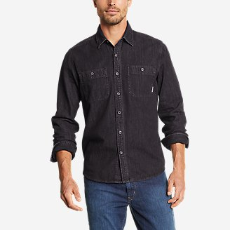 Men's Denim Long-Sleeve Shirt - Solid in Gray