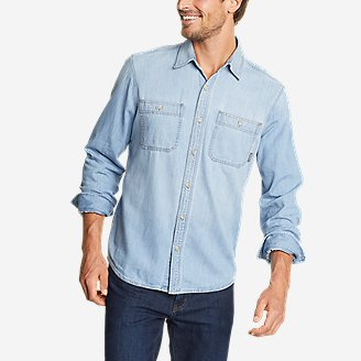 Men's Denim Long-Sleeve Shirt - Solid in Blue