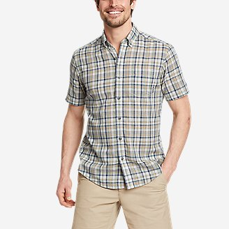 Men's Tidelands Short-Sleeve Yarn-Dyed Textured Shirt in Green