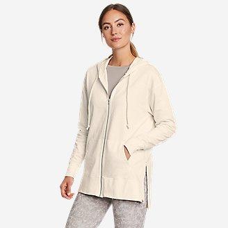 Women's Mineral Wash Terry Full-Zip Hoodie in White
