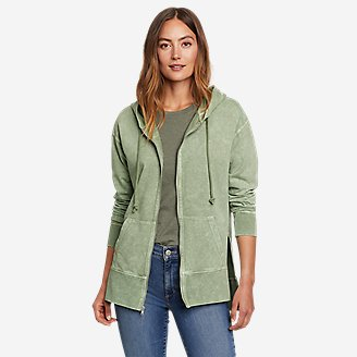 Women's Mineral Wash Terry Full-Zip Hoodie in Green