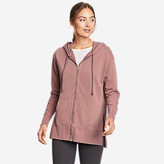 Women's Mineral Wash Terry Full-Zip Hoodie in Pink