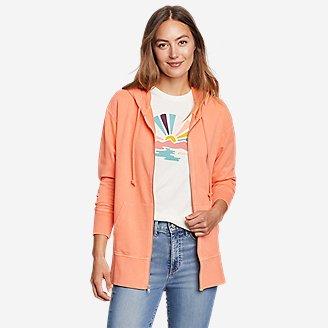 Women's Mineral Wash Terry Full-Zip Hoodie in Orange