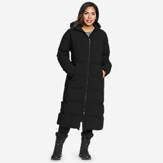 Women's Glacier Peak Seamless Stretch Down Duffle Coat in Black