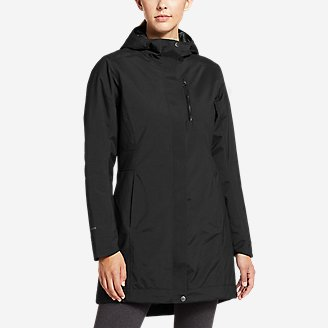 Women's Eastide Insulated Waterproof Trench Coat in Black