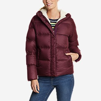 Women's Stratuslite Down Sherpa-Lined Hoodie in Red