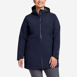 Women's Cloud Cap Stretch Insulated Trench Coat in Blue