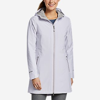 Women's Cloud Cap Stretch Insulated Trench Coat in Beige