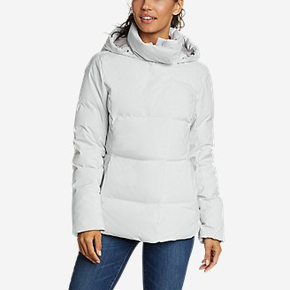 Women's Glacier Peak Seamless Stretch Down Hooded Jacket in Beige