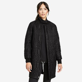 Women's Eddie Bauer Quilted Long Bomber in Black