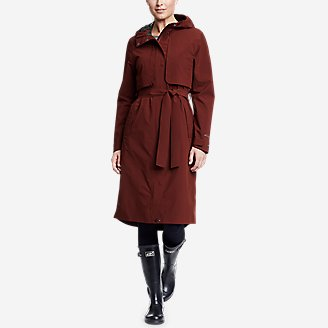 Women's Cloud Cap Stretch Trench Coat in Brown
