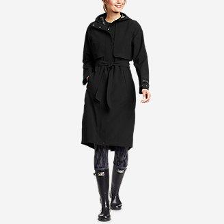 Women's Cloud Cap Stretch Trench Coat in Black