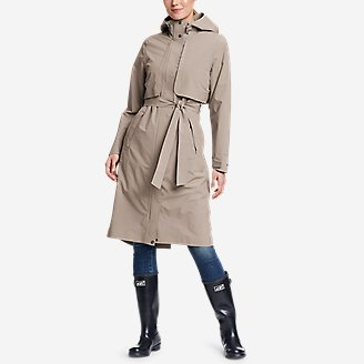 Women's Cloud Cap Stretch Trench Coat in Gray