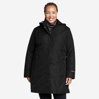 Women's Girl On The Go Insulated Trench Coat in Black
