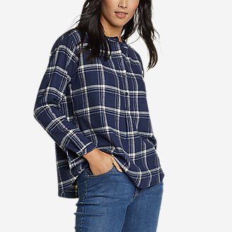 Women's Fremont Flannel Crossover-Back Henley Shirt in Blue