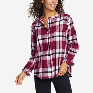 Women's Fremont Flannel Crossover-Back Henley Shirt in Purple