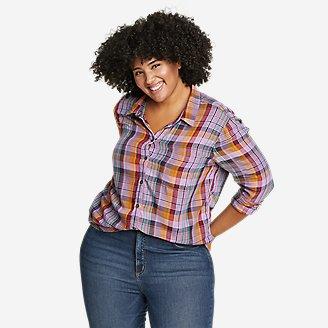 Women's Tranquil One-Pocket Long-Sleeve Shirt - Yarn-Dyed in Purple
