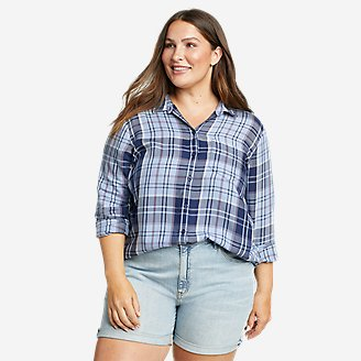 Women's Tranquil One-Pocket Long-Sleeve Shirt - Yarn-Dyed in Blue