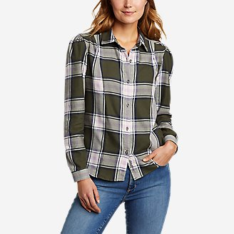 Women's Fremont Flannel Puff-Sleeve Shirt in Green