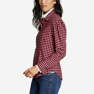 Women's Fremont Flannel Puff-Sleeve Shirt in Red