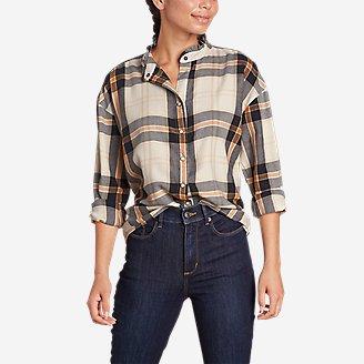 Women's Fremont Flannel Ruffle-Neck Shirt in Beige