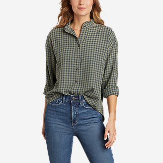 Women's Fremont Flannel Ruffle-Neck Shirt in Green