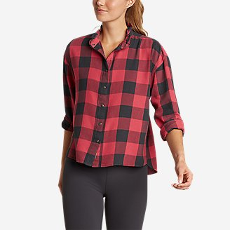 Women's Fremont Flannel Ruffle-Neck Shirt in Red