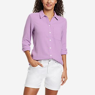 Women's Carry-On Button-Down Shirt in Purple