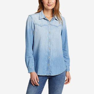 Women's Vintage Denim Western Shirt in Blue