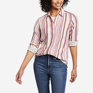 Women's Carry-On Long-Sleeve Button-Down Shirt in Purple