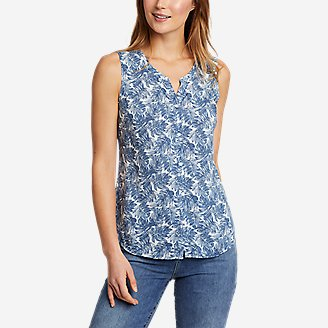 Women's Magnolia Y-Neck Button-Down Tank Top - Print in Gray